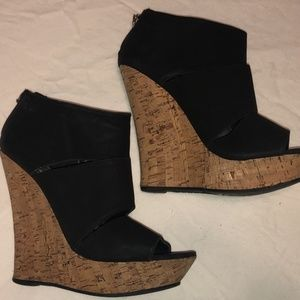 Bamboo Driven-73 Open Toe Wedge Bootie Sz 6.5